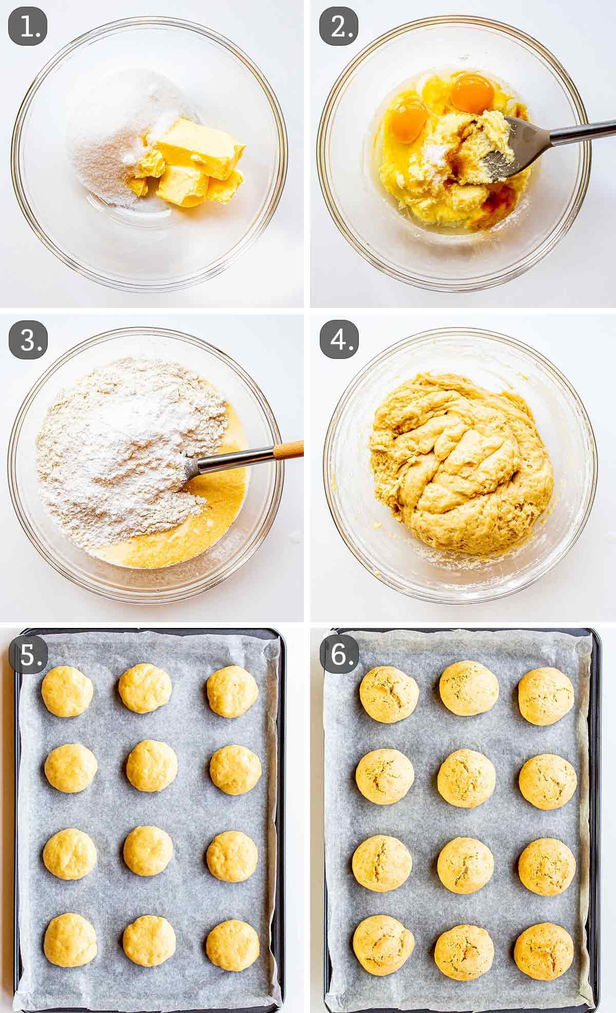 process shots showing how to make italian peach cookies.