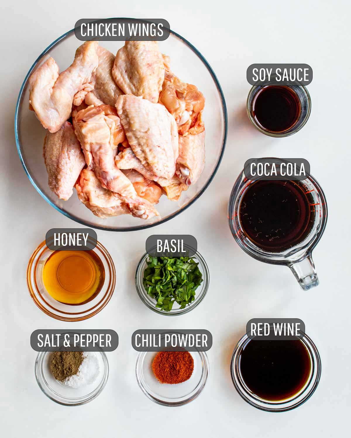 overhead shot of ingredients needed to make coca cola wings.